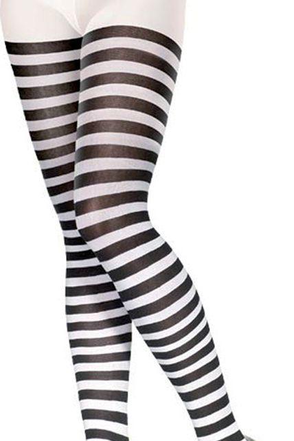 collants sorcière adulte rayes blanc noir taille unique Le ... 4f211bbede4