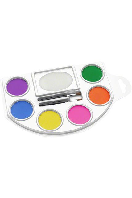 palette aqua color visage et corps 6 couleurs fluo le. Black Bedroom Furniture Sets. Home Design Ideas