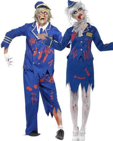 Couple zombie capitaine et h tesse deguisement adulte en couple le - Deguisement couple halloween ...