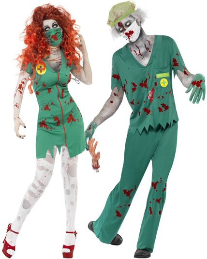 Couple zombie hopital deguisement adulte en couple le - Deguisement couple halloween ...
