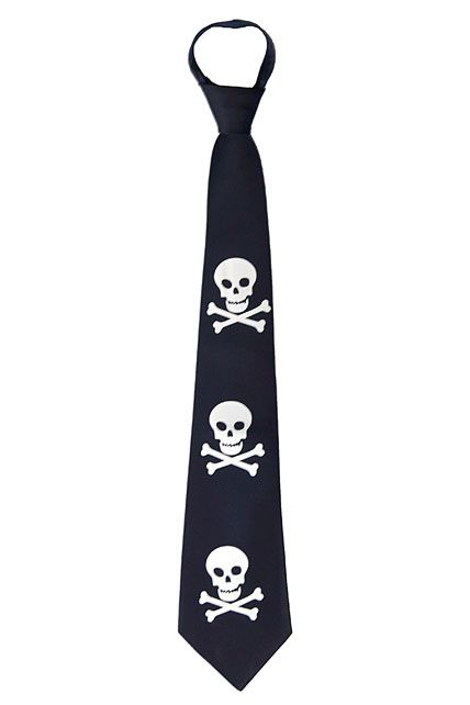 167c9ef30ecc cravate noire polyester reglable 3 tetes de mort - Accessoires ...
