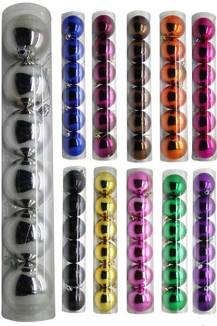 une boite de 6 boules brillantes plastique pvc de 6 cm de diam tre au choix argent bleu bordeaux. Black Bedroom Furniture Sets. Home Design Ideas