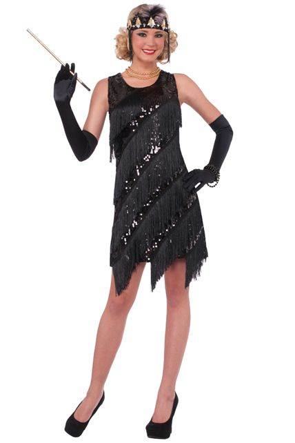 robe noire ann es 20 a franges et sequin d guisement adulte femme le. Black Bedroom Furniture Sets. Home Design Ideas