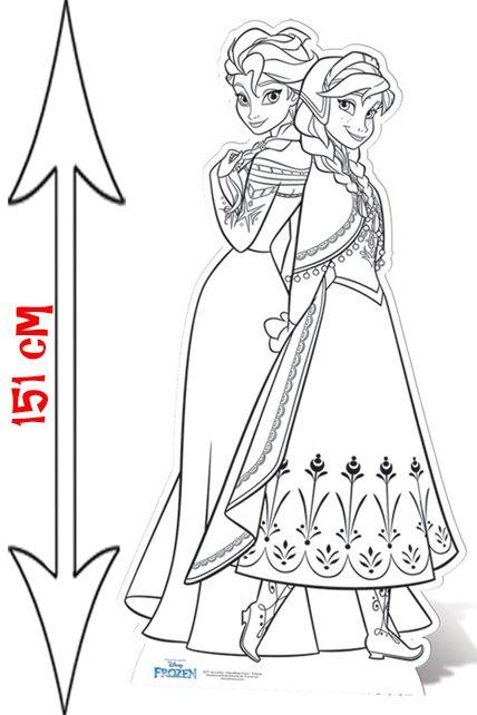 Coloriage Masque Elsa.Figurine Geante Elsa Et Anna Frozen A Colorier Decorations Les