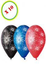 Deguisement Sachet De 10 Ballons Feu D'Artifices