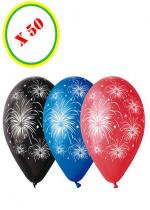 Deguisement Sachet De 50 Ballons Feu D'Artifices