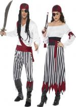 Deguisement Couple De Pirate Blanc et Rouge En Couple