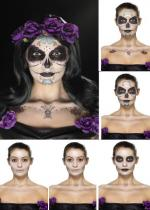Deguisement Kit Tatouage Jour Des Morts Multicolore Maquillage Halloween