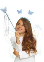 Deguisement Set Papillon Bleu Enfant Ailes, Anges, Eventails