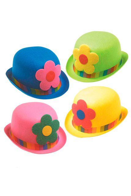 chapeau melon clown fleur adulte - chapeau melon et haut de forme