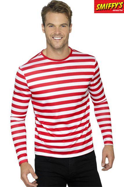 T Shirt Rayé Rouge Avec Manches Longues - Déguisement adulte Chemise ... 3c687a75be48