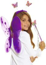 Deguisement Set Papillon Violet Ailes, Anges, Eventails