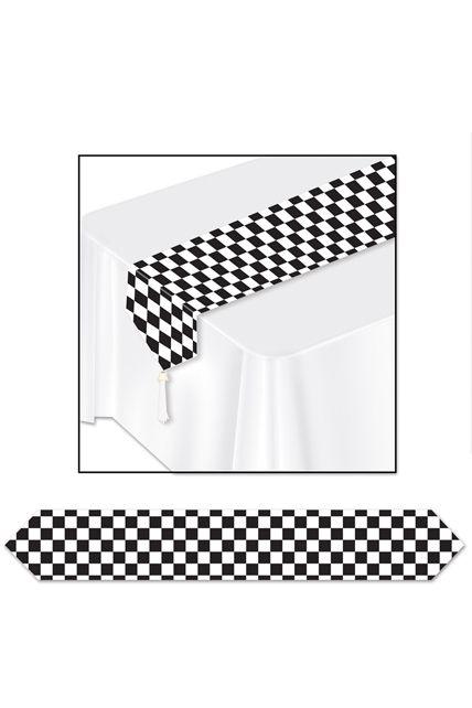 Chemin de table damier noir et blanc articles de f te vaisselles jetables le - Chemin de table noir et blanc ...