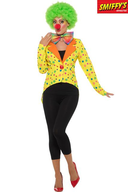 Adulte Veste De Jaune Clown Déguisement Pie Colorée Queue Femme czWxnwcZ8