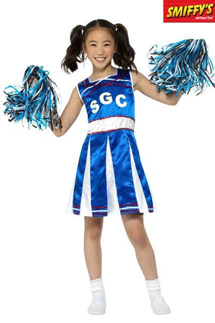 déguisement enfant pom pom girl bleu et blanc - déguisement enfant