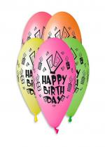 Deguisement Sachet De 5 Ballons Happy Birthday Neon