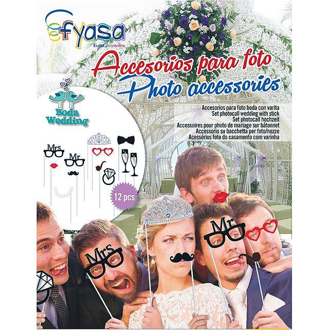 12 Accessoires Mariage Sur Stick Pour Photo Fun - Articles de fête ... 5c3d664ca6b