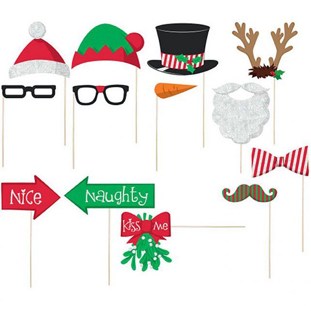 Accessoire De Noel Set De 13 Accessoires Kit Photo Noël   Décorations Noël Le