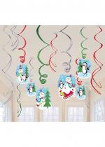 Deguisement Lot 12 Suspensions Spirale Bonhomme De Neige Décorations Noël