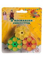 Deguisement Lot De 3 Recharges De Confettis