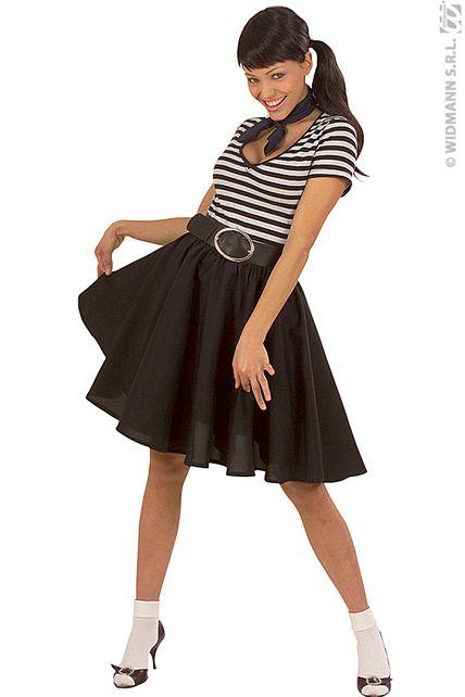 jupe rock 39 n roll noire deguisement adulte jupe et. Black Bedroom Furniture Sets. Home Design Ideas