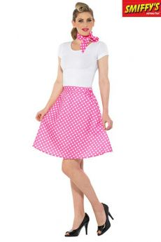 Jupe 50 Rock N Roll Rose A Pois Blancs costume