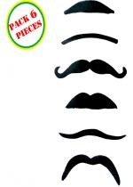 Pack 6 Moustaches Noires