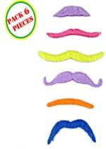 Pack 6 Moustaches Fluo