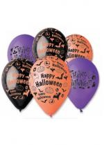 Sachet 6 Ballons Halloween Noir Orange Violet