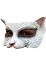 Demi Masque Chaton Blanc En Latex Adulte