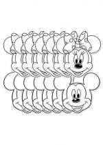 12 Masques Carton Mickey et Minnie A Colorier