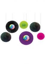 Lot De 6 Eventails En Papier Disco Fever
