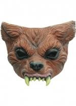 Demi Masque Latex Adulte Loup Garou Marron