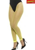 Collant Sans Pieds Filet Jaune Fluo