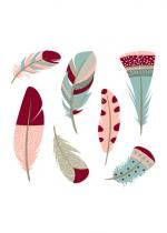 Sachet De 20 Serviettes Hindi Feathers Bordeaux