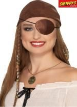 Cache oeil Adulte Pirate En Satin Marron De Luxe
