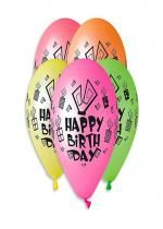 Sachet De 5 Ballons Happy Birthday Neon