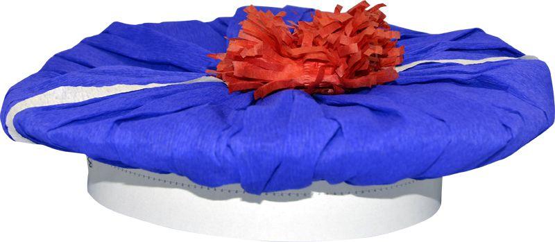 B ret marin cr pon blanc pompon rouge le - Pompon en papier crepon ...
