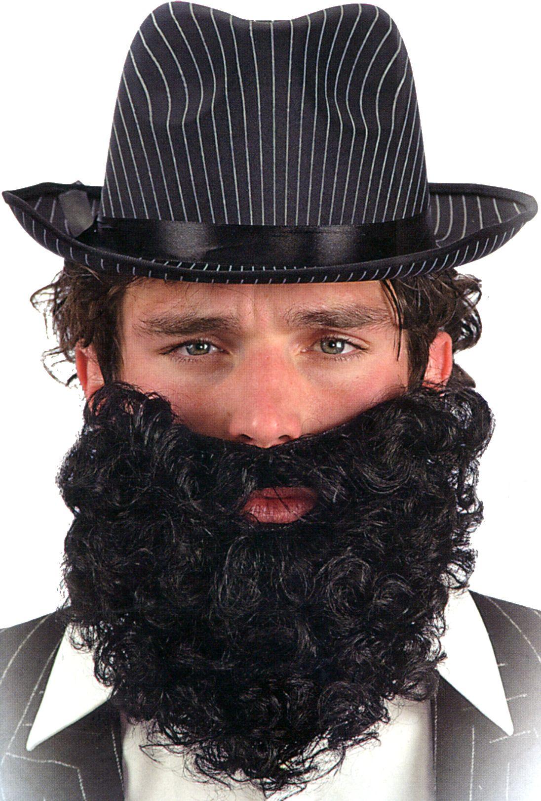 barbe frisée courte noire - maquillage barbes, moustaches le
